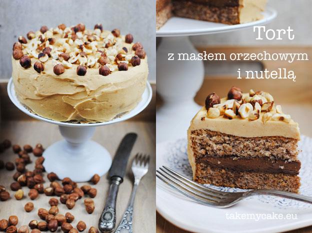 tort z maslem orzechowym i nutella
